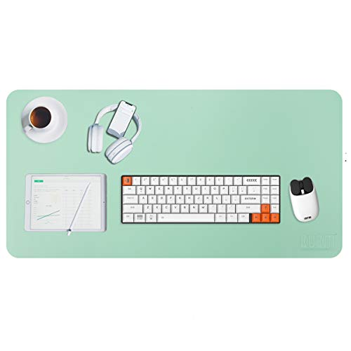 Alfombrilla para Ratón, 80 x 40 cm Ultra fino Antideslizante e impermeable alfombrilla para escritorio del cuero de la PU Super - Verde
