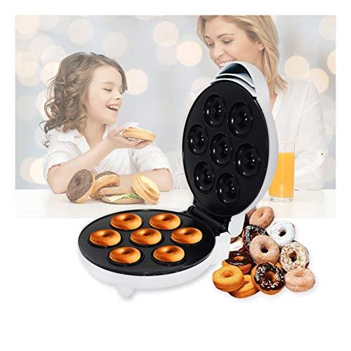 LKOPYUo Máquina de Fabricante de donas eléctricas, rosquilla de 7 Agujeros, Placas Calientes antiadherentes, Hornear para Hornear DIY Mini Cupcake Maker, Fabricante de Pasteles/Fabricante de gofres,