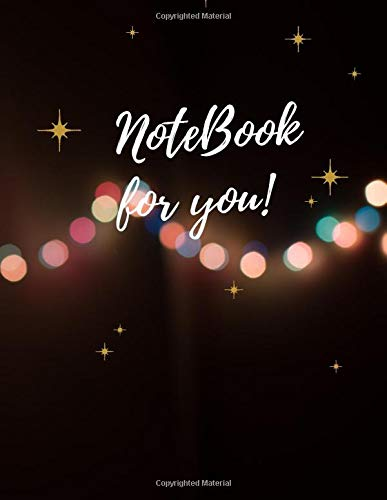 Lined notebook journal Bokeh Photography of String Lights cover, lined notebook 100 pages with page number – Large (8.5 x 11 Inches)