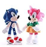 Hzong 2Pcs / Set 26-28Cm Juguete De Peluche Sónico Amy Rose Sonic-Shadow-Silver The Hedgehog Tails K...