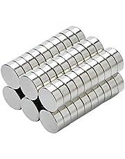 Yizhet 50 st N38 neodym starka magneter cylinder kylskåpsmagneter sällsynta jordskivmagneter 8 x 3 mm för konst, hantverk, hobbyer, hem och kontor