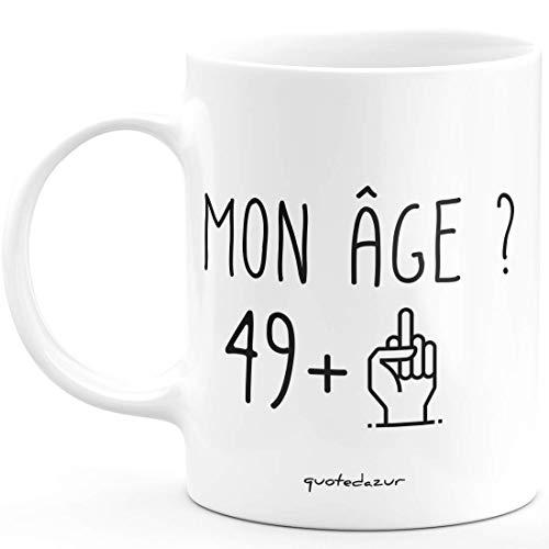 Taza de 50 años con texto en inglés Rigolo Divertido – Taza de regalo de cumpleaños 50 años cincuenta para hombre y mujer, humor original
