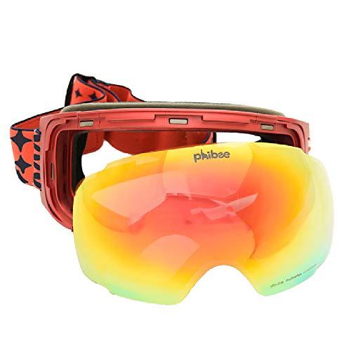 TTPF Casco Compatibile Occhiali da Sci per Adulti Parabrezza Lente Intercambiabile Doppio antiappannamento Anti-Shock Anti-UV per Lo Sci di Guida all aperto
