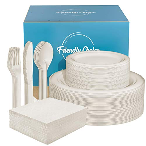 300Pcs Biodegradable Dinnerware Set, Ecofriendly Sugarcane Compostable Paper Plates & Utensils - 9 Inch & 7 Inch Dinner Plates, Large Cutlery & Napkins - Tableware for Party, Camping, Picnic, BBQ
