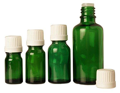 lot de 6 x 10 ml vides bouteilles de verre vert Tamper bouteilles de sérum bouchon euro-gouttes évidentes huiles essentielles gros boston bouteille ronde