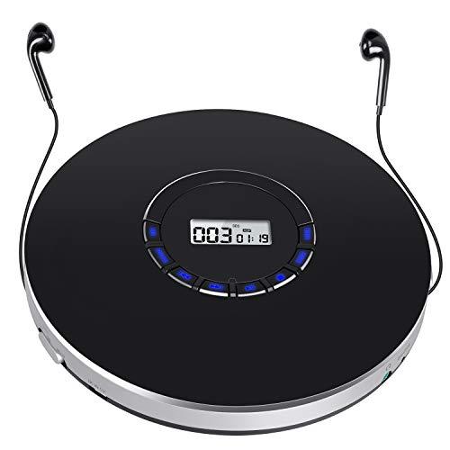NAVISKAUTO Tragbarer CD Player Discman 12 Stdn. 1400mAh Skip Schutz CD/MP3/WMA/CD-R/CD-RW mit Kopfhörer für Hörbücher Musikhören Sprachelernen