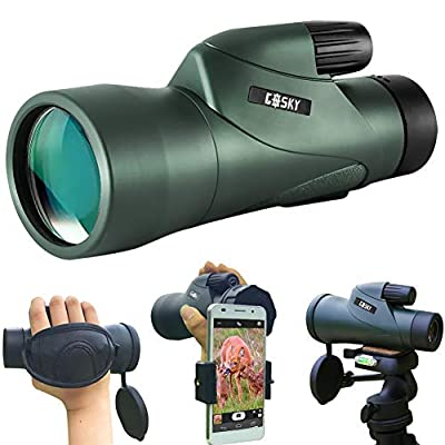 Gosky 12x55 High Definition Monocular Telescope and Quick Smartphone Holder - 2018 Newest Waterproof Monocular -BAK4 Prism for Wildlife Bird Watching Hunting Camping Travelling Wildlife Secenery from Gosky