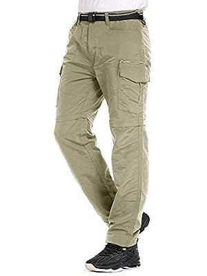 Mens Hiking Pants Convertible Quick Dry Lightweight Zip Off Outdoor Fishing Travel Safari Pants (6055 Khaki 36)