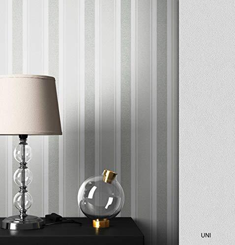 NEWROOM Tapete Streifen Grau Streifen Linien Modern Vliestapete Weiß Vlies Streifentapete Landhaus inkl. Tapezier Ratgeber | Streifentapete