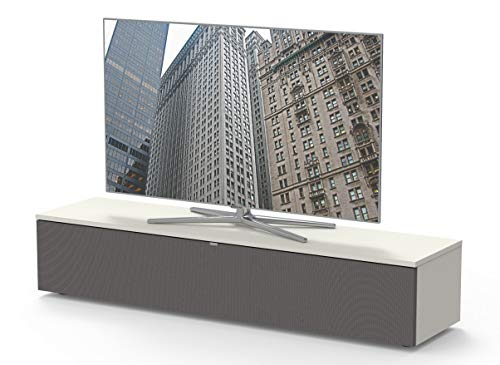 Premium TV- Möbel, Lowboard, Maße: 160x32.5x40cm, inkl. Akustikstofffront, Abnehmbare Rückwände, Made in Germany, einfache Montage, Farbe: Weiss
