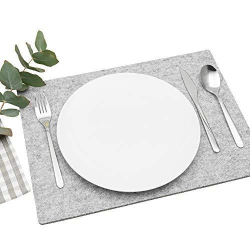 FILU Platzsets aus Filz 4er-Pack Hellgrau eckig (Farbe und Form wählbar) 30 x 41 cm – Tischset für drinnen und draußen Deko für Esstisch im Wohnzimmer, Gartentisch/Balkontisch