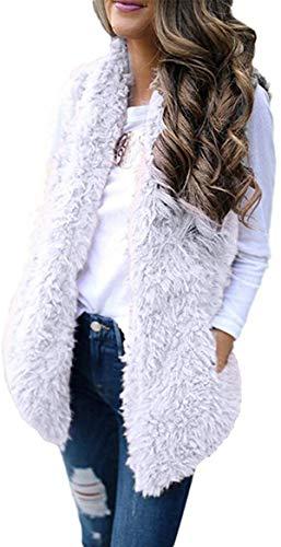 Tammy W Nash Women Winer Warm Faux Fur Sherpa Vests Casual Open Front Fuzzy Fleece Cardigan Jackets Coats