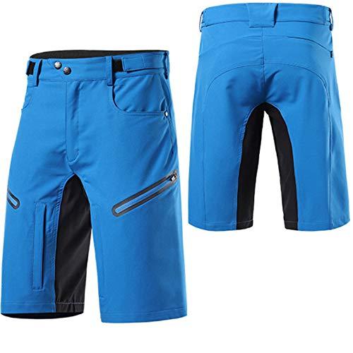 WWAIHY Pantalones Cortos Ciclismo MTB Hombre,Transpirable De Secado Rápido Mountain Bici Pantalones Cortos,para Deporte Al Aire Libre Y Ciclismo(Size:S,Color:Azul)
