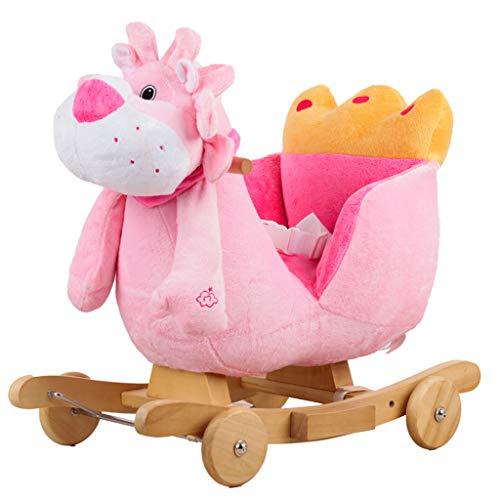 GOUO@ Cheval À Bascule pour Enfants Berceaux À Bascule en Bois Massif Super Doux Tissu Animal Rocker Toy avec Musique - Style Pink Lion Cub Thème Rocking Chair pour 6 Mois - 3 Ans