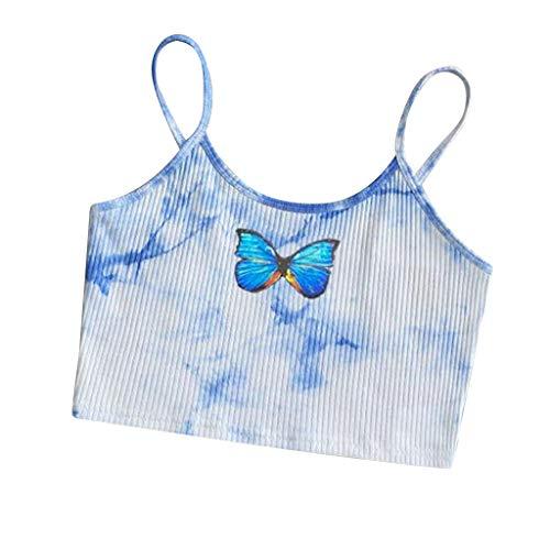 KIMODO Camisole Damen Casual Kurz T Shirt Frauen Tie-Dye Drucken Oberteil Frauen Ärmellose Bluse Weste Tank Crop Tops Pullover Shirts (Blau-A, L)
