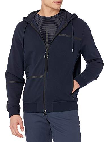 Armani Exchange AX Herren Logo Tape Full Zip Hoodie Kapuzenpulli, Navy, X-Large