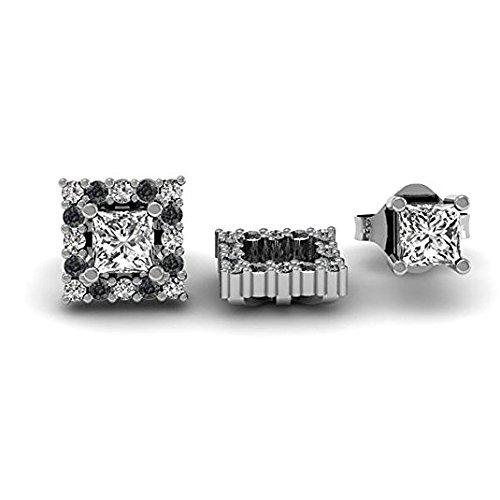 Damen Ohrringe / Ohrstecker 0.25 Karat 18 Karat Weißgold Rund Schwarz & weiß Diamant Abnehmbare Jacken für 1/4 Karat