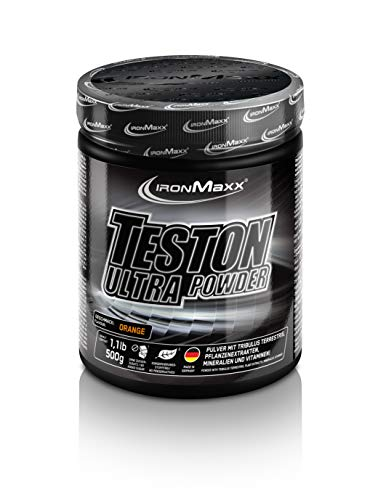IronMaxx Teston Ultra Strong Muscle Blaster - 500g Pulver - Orange - Pre Workout Booster Pulver - L-Arginin und Maca - beliebt für einen normalen Testosterongehalt im Blut - Designed in Germany