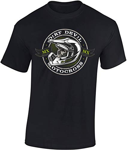 Motocross T-Shirt: Dirt Devil - Motorrad T-Shirt Herren Damen - Mann Männer Frau-en - Biker Bike MX - Motor-Sport - Geschenk - Downhill - Rennen Race - Outdoor - Quad - Freestyle Moto-X Country (L)