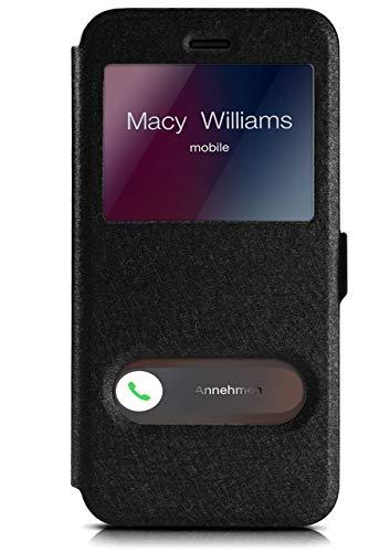 moex Klapphülle in Lederoptik inkl. Sichtfenster kompatibel mit iPhone 12/12 Pro   Integrierte Standfunktion + Magnetverschluss, Schwarz