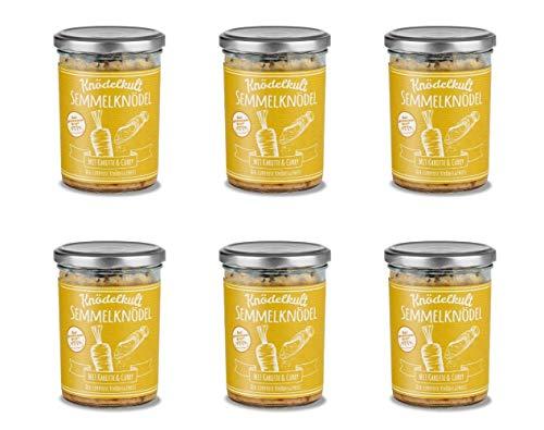 6x Knödelkult Fleischlos Glücklich - Semmelknödel mit Karotten und Curry im 350 g Glas - 100% gerettetes Brot