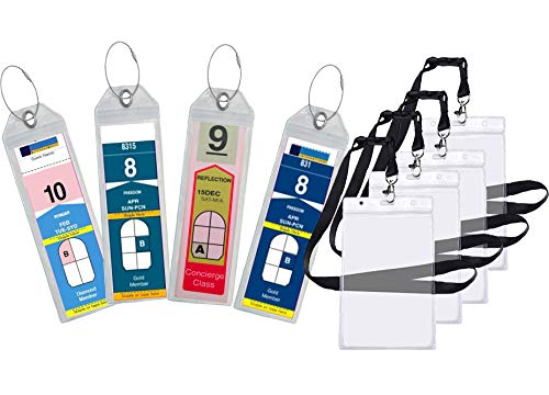 Cruise Luggage Tag Holder Zip Seal & Steel for Royal Caribbean & Celebrity Cruise (8 Pack + 4 ID Holders)