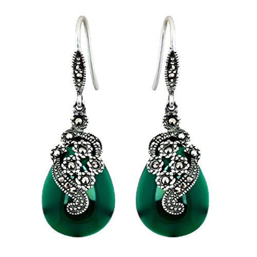 Jade Angel Thai 925 Silver Agate Marcasite Drop and Dangel Earrings (Green)