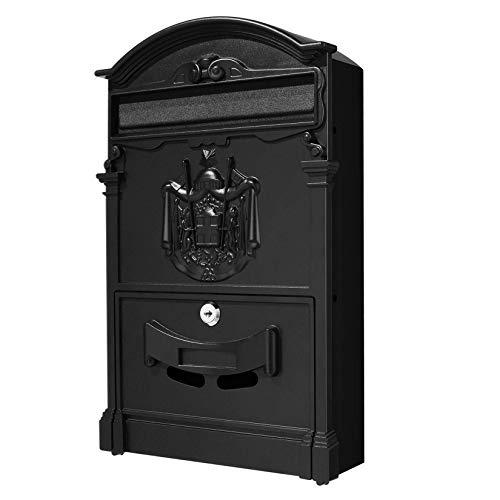 Tooluck Boîtes aux lettres murales rétro verrouillables Boîte aux lettres extérieure de Villa classique étanche Boîte aux lettres de grande capacité 16 × 9,5 × 3 pouces (noir)