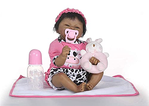 Zero Pam Black Reborn Baby Girls Soft Silicone Body 18inch Newborn Baby Dolls Biracial Girl Real Looking Child Realistic Reborn Babies Preemie Doll