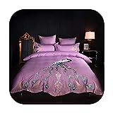 Juego de ropa de cama de matrimonio tamaño Queen King 4/6 piezas de algodón con bordado de pavo real, algodón, 1, Queen size 4pcs