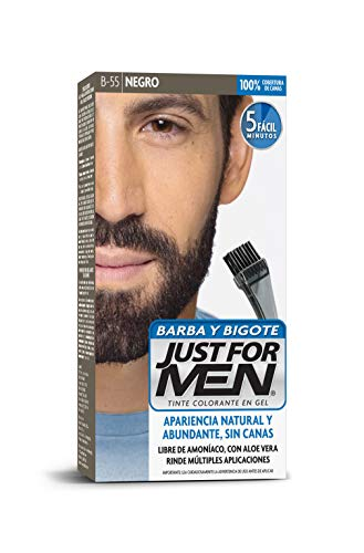 Just For Men Tinte Colorante en Gel para Barba y Bigote, Cubre las Canas, Color Negro (B-55), 28.4 g