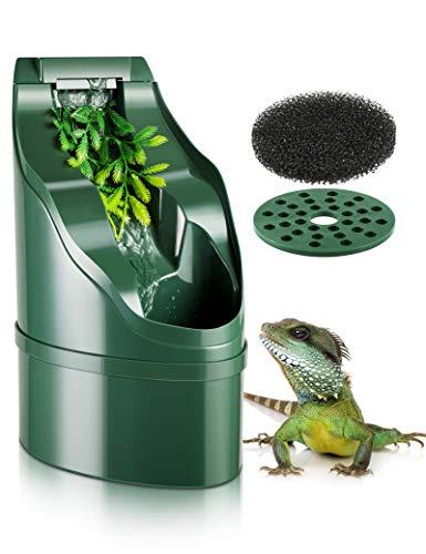 Reptile Water Fountain Waterfall - Amphibians Drinking Dripper, Water Feeding Dish Bowl, Automatic System Dispenser for Chameleon, Lizard, Snake, Gecko, Turtle,Bearded Dragon Terrarium Tank Accessory