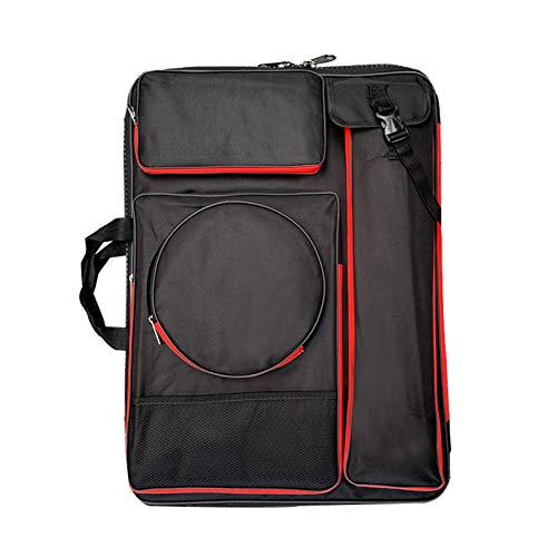 GWLTV A3 Canvas Drawing Board Bag,Artist Portfolio Backpack Bag Multi-Functional Sketchpad Art Bag for Drawing Sketching Painting,BlackRed