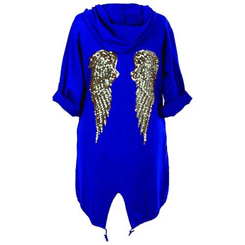 Style Wise Fashion - Sudadera con capucha para mujer, diseño de alas de ángel con lentejuelas, color negro