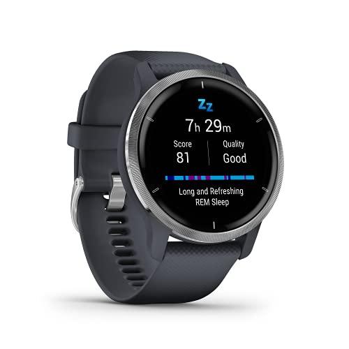 """Garmin Venu 2 – GPS-Fitness-Smartwatch mit ultrascharfem 1,3"""" AMOLED-Touchdisplay, umfassenden Fitness- und Gesundheitsfunktionen, über 25 vorinstallierte Sportarten, Garmin Music und Garmin Pay"""