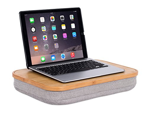 BirdRock Home Bamboo Lap Desk with Laptop Storage Compartment - Work from Home - Pillow Cushioned Laptop Accessories Book Stand - Great for Bed Couch Table Sofa Chair - Food Serving Tray - Grey