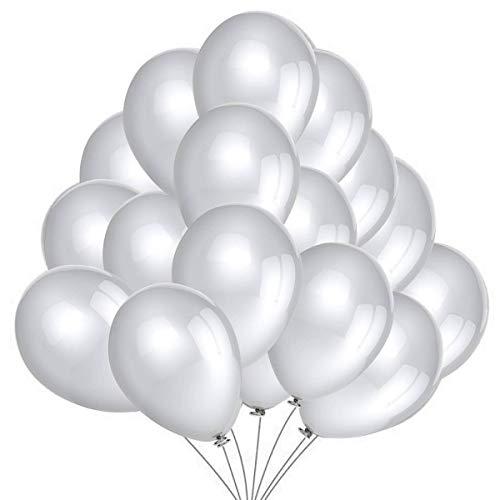 50 Globos Plata Brilante de Látex de 36 cm. Globo por Helio de 3g. Decoraciones y Accesorios para Fiesta de Cumpleaño, Graduacion y Año Nuevo