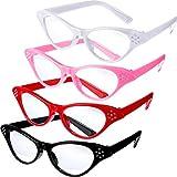 Jovitec 4 Pieces Cat Eye Glasses with Rhinestones 50's 60's Theme Party Classic Glasses for Retro...
