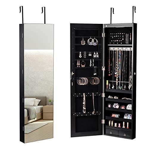 COSTWAY Schmuckschrank mit LED Beleuchtung, Schmuckregal hängend mit Spiegel, abschließbar mit Schlüsseln, 120 cm hoch (schwarz)