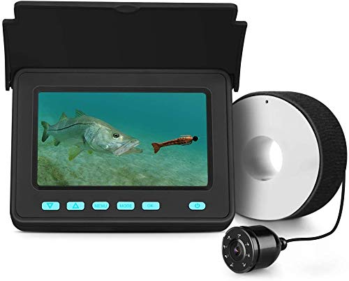 Eyoyo Portable Underwater Fishing Camera Fixed on Rod Underwater Video Fish Finder 4.3 inch Monitor 20M Cablewith 1000 TVL IP68 Waterproof 8 Infrared LED Camera for Ice Lake Sea Boat Kayak Fishing