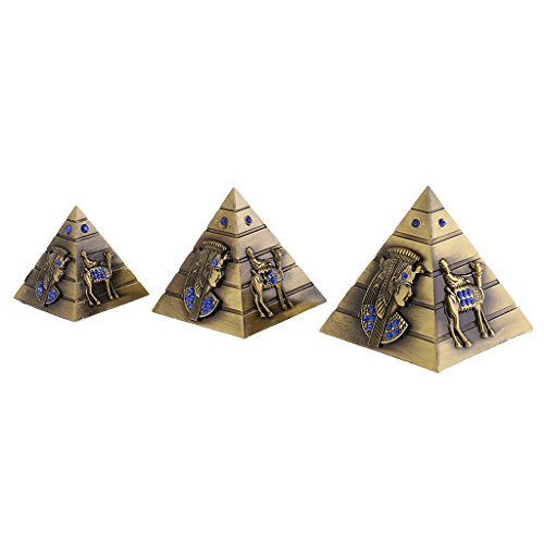 Metall ägyptischen Pyramiden Dekofigur Ägypten Pyramide Figur, 3er / Set - Bronze