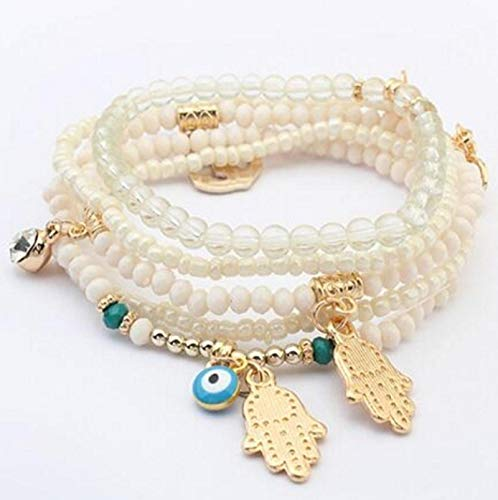 Jewellery Bracelets Bangle For Men Charms Bracelets Bangles Multilayer Beads Women Bracelet White