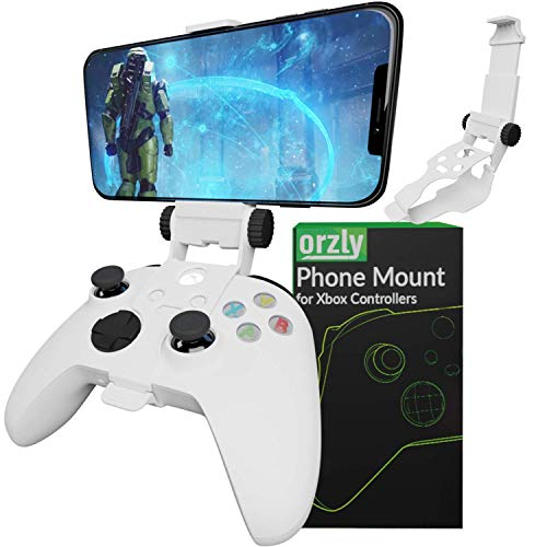 Xbox Series X Controller Mobile Gaming Clip, Xbox Controller Phone Mount Einstellbare Phone Holder Clamp Kompatibel mit Xbox Series X|S, Xbox One, Xbox One S, Xbox One X-Robot Weiß