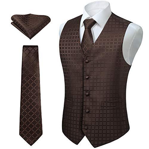 Enlision Classic Check Jacquard Herren Weste Krawatte Tasche Quadrat Einfarbig Weste Anzug Set