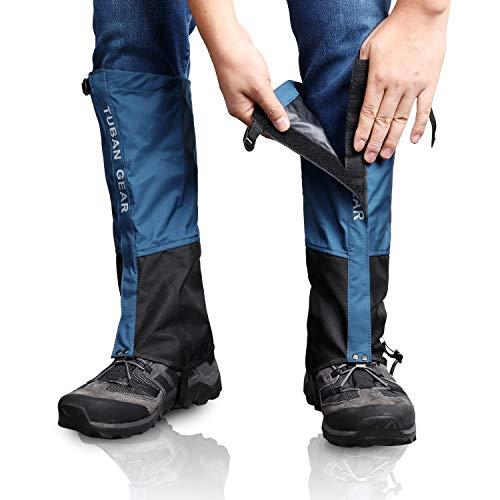 Outdoor Gamaschen, wasserdichte Staubdicht Einstellbare Atmungsaktive Beinschutz Gaiter für Outdoor-Hosen zum Wandern, Klettern,Trekking, Schneewandern 1 Paar (Blau, M)