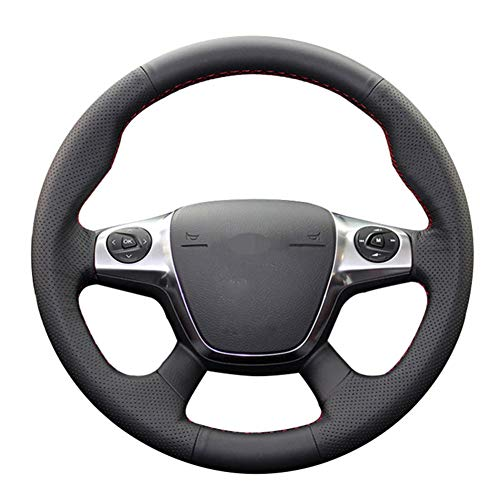 MioeDI Black Soft Leather Car Steering Wheel Cover,For Ford Focus 3 2012-2014 KUGA Escape 2013-2016