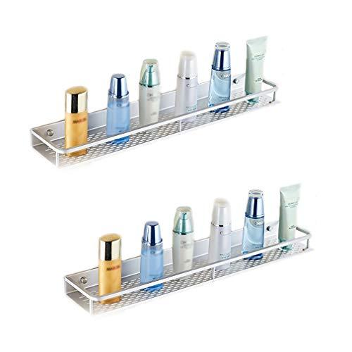 WXQIANG Aluminio del Espacio de la Cocina Rack de baño Libre Pendiente de perforación con Barandilla Sola Capa Embedded Cuarto de baño WC Bandeja de Rack (Color : Two Packs)