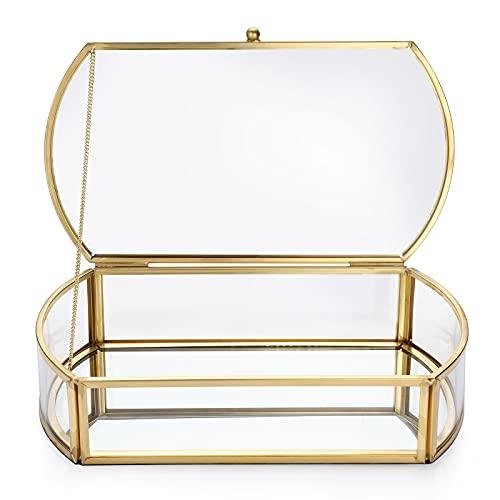 SUMTree Joyero de metal y cristal con tapa, caja de joyas, caja rectangular para joyas de mujer, anillo regalo para el día de la madre, boda y noche