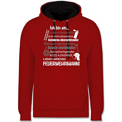 Shirtracer Feuerwehr - Ich Bin EIN Feuerwehrmann! - XXL - Rot/Schwarz - Hoodie Feuerwehr Herren - JH003 - Hoodie zweifarbig und Kapuzenpullover für Herren und Damen