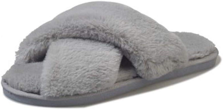 SALICEHB Winter-Frauen-Hauspantoffel Mit Faux-Pelz-Mode-Warmen Schuhen Frauen-Beleg Auf Ebenen-Frau-Dias B07JVC5YDG  Schnäppchen